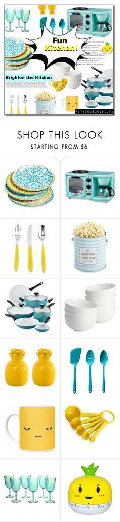 """Fun Kitchen"" by aidasusisilva ❤ liked on Polyvore featuring interior, interiors, interior design, home, home decor, interior decorating, Mudhut, Improvements, The Hampton Popcorn Company and Farberware"