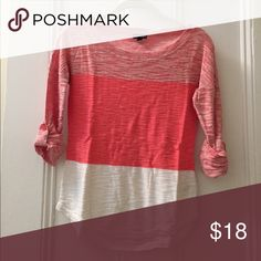 Express shirt Three tone color block Express shirt. Boat neck and 3/4 length sleeves. Super light sweater material, high quality. Express Sweaters Crew & Scoop Necks