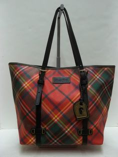 Dooney Bourke Red Tartan Plaid East West Pers Tote Handbag Scottish Tartans Per