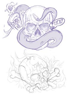 066 - Sketches by Joshua M. Smith, via Behance Cool Skull Drawings, Gothic Drawings, Skull Artwork, Graffiti Drawing, Skull Tattoo Design, Tattoo Design Drawings, Skull Tattoos, Symbol Tattoos, Graffiti Wildstyle