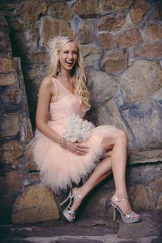 Carrie   Short Wedding Dress Reception dress, pink wedding dress