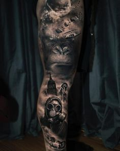 King Kong film inspired tattoo in grey scale Lower Leg Tattoos, Leg Tattoos Women, Wrist Tattoos For Guys, Dark Tattoos For Men, Irezumi, Bow Tattoo Designs, Gothic Tattoo, Detailed Tattoo, Most Popular Tattoos