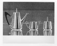 Silver coffee pot, sugar bowl and creamer. 1965 - 1969 Design: Kilkenny Design Workshops