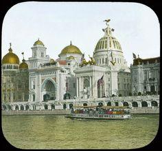 Les pavillons Ottoman et des Etats Unis sur le quai des Nations pendant l'exposition universelle de 1900