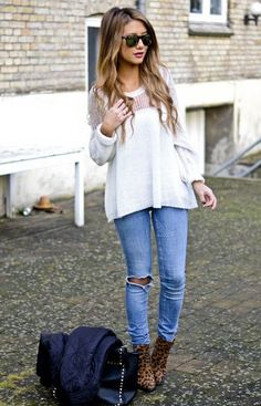 Torn denim, sweater and leopard prints booties