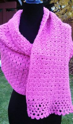 pink crochet shawl