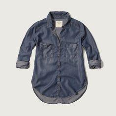 Womens Dark Wash Denim Shirt