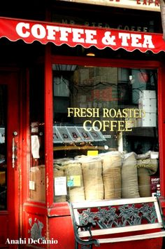 storefront, red coffee + tea shop, new york city | travel photography #shops