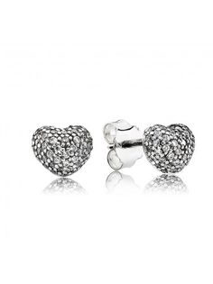Pandora Silver Cubic Zirconia Pave Heart Stud Earrings 290541CZ