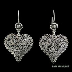 Sterling Silver Filigree Heart Dangle Earrings  found on Ruby Lane
