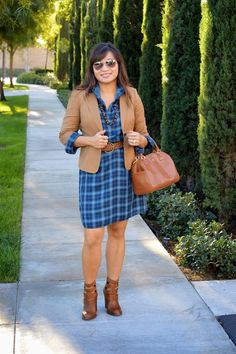 over 40 fashion blogger happiness at mid life plaid shirt dress loft Tory burch Robinson Middy Satchel chinese laundry gadget buckle booties