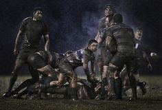 Action from a rugby match between Old Belvedere and Blackrock played in heavy rain in Dublin, Ireland. 5 February 2011. Ray McManus of Ireland, a photographer working for Sportsfile, has won the second prize Sports Singles of the World Press Photo Contest 2011.