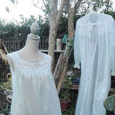 Coordinato camicia da notte shabby chic vintage vestaglia vintage celeste