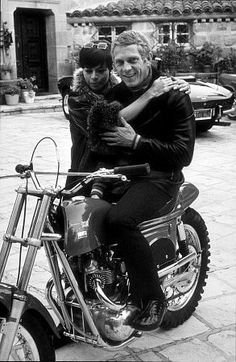 Steve McQueen on his Metisse motorcycle, at home in Beverly Hills with wife Neile C. 1970