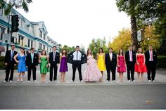 An example of a pink and rainbow bridal and groom wedding party