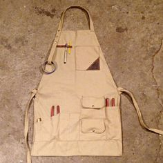 Image of Apron-Tool Roll by Taylor Brubaker Leather Diy Crafts, Leather Craft, Clothes Words, Leather Working Patterns, Tool Roll, Work Aprons, Gardening Apron, Leather Apron, Aprons For Men