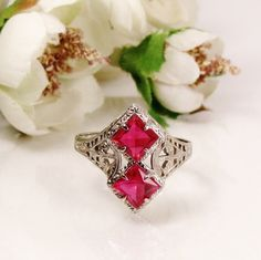 Antique Art Deco Ruby Engagement Ring OB Ostby Barton 10K White Gold Filigree Collectible Historical Pink Edwardian Gemstone Ring