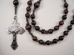 Mens Rosary Fathers Day Catholic 22 inch Genuine RED Tiger Eye Gemstones w/BLACK Necklace Padre Masculino Collar Rosario Free Shipping USA by TheGemBeadLink on Etsy