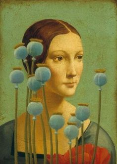 Lady with Poppies by James C. Christensen, 2004. Loosely based on da Vinci's Lady with an Ermine, which was also inspired by poppies