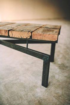 Gooseneck X coffee table, bench, rustic modern. $775.00, via Etsy.
