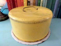 Cake keeper Vintage Yellow Metal Cake Keeper / by AuntSistersPicks
