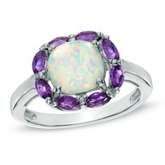 7.5mm+Cushion-Cut+Lab-Created+Opal+and+Amethyst+Ring+in+Sterling+Silver