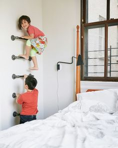 indoor climbing wall. hello! A CUP OF JO: New York City apartment tour
