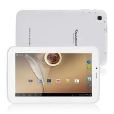 Sanei G703 Tablet PC use 7 inch Screen, 512MB RAM + 8GB ROM with Allwinner 1.2GHz professor, has 0.3MP front + 2MP back dual camera, installed Android 4.2 OS.