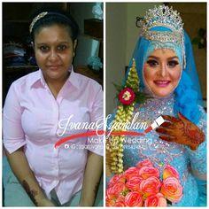before-after rias pengantin muslim Mua 💄 : Ivana Syamlan