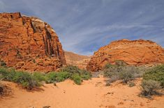 Photo about The Three ponds Trail in Snow Canyon State Park in Utah. Image of trail, dramatic, sand - 32348011