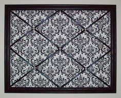 Black & White Damask Print fabric - Wooden Framed French Memo Board