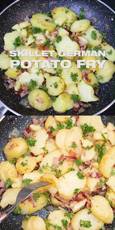 Bratkartoffeln with Bacon - German Fries Recipe, German fried potatoes with speck, side dish, one pot skillet main dish, German Fries Recipe, German Potato Recipes, Quick Potato Recipes, Easy German Recipes, Austrian Recipes, Easy Main Dish Recipes, German Fried Potatoes, Oktoberfest Food, Potato Dinner