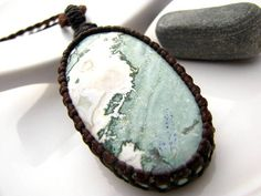Green Jasper Necklace / Green and White / macrame necklace / Gemstone Jewelry / Earthy jewelry / Men necklace / Healing stones and crystals