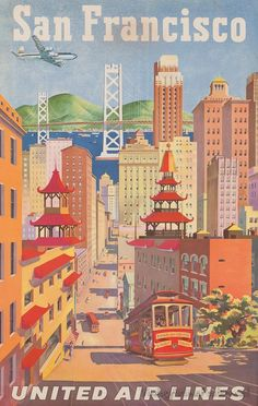 Colorful poster of stereotypical San Francisco sights.  (Not that that is a bad thing, exactly)