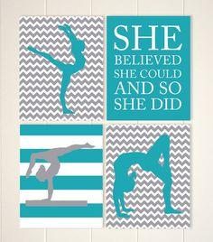 Gymnastics room decor, gymnast girl wall art, girls wall art, teen girls gift idea, girls motivational art, sports art, Set of 4 prints by PicabooArtStudio
