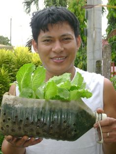 Garden & Landscaping, Cool Exterior Design With Container Gardening Vegetables Ideas Using Plastic Bottle ~ Creative Container Vegetable Gardening Ideas in Home