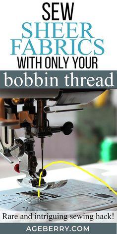 Este truco de costura: cómo coser material puro usando solo un hilo de bobina para . Easy Sewing Projects, Sewing Projects For Beginners, Sewing Hacks, Sewing Tutorials, Sewing Tips, Sewing Crafts, Dress Tutorials, Yarn Crafts, Sewing Ideas