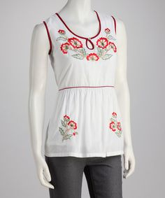 Take a look at this White Embroidered Sleeveless Top by Papillon Imports on #zulily today! $20 !!