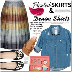 How To Wear A Denim Shirt With A Pleated Skirt