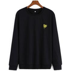 SheIn(sheinside) Banana Embroidered Black Sweatshirt