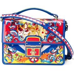 Dolce & Gabbana 'Rosalia' cross body bag (€1.620) found on Polyvore featuring bags, handbags, shoulder bags, patent leather crossbody, multi colored handbags, multicolor handbags, colorful handbags and multi colored purses