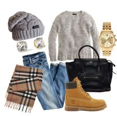 Replace shoes with brown/lace booties and make sure to wear with grey chunky sweater
