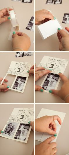 Check out these darling DIY table numbers with photos of the bride and groom at each table number age!