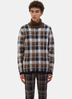 Men's Knitwear - Clothing | Order Now at LN-CC - Checked Hairy Knit Roll Neck Sweater