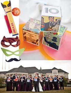 Super hero theme    http://3.bp.blogspot.com/-vK90OJUHLIQ/TylW6aGmBdI/AAAAAAAACXQ/TQcgvz08O4s/s1600/Superhero_pez_escort_cards_comic_book_boxes_table_numbers_masks_party_favors_superhero_shirts_groomsmens_Superhero_wedding_inspiration_comic_book_invitation_pow_escort_cards_superhero_flower_girl.png