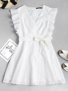 Ruffle Broderie Anglaise Partykleid – WHITE S # whitedress # Sommerkleid # Causaldres … - Mode Frauen Club Sexy Dresses, Nice Dresses, Girls Dresses, Summer Dresses, Summer Clothes, Beautiful Dresses, Short Dresses, Mode Outfits, Dress Outfits