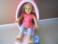 Egg Chair Tutorial for 18 Inch Dolls by HomespunKat on Etsy American Girl Doll Julie, How To Make Eggs, Ag Doll Clothes, Ag Dolls, Doll Furniture, 18 Inch Doll, Egg Chair, Step By Step Instructions, Pdf