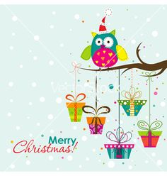 Template christmas greeting card vector. Winter tree with gifts by Tolchik on VectorStock®