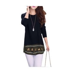Reindeer Print Black Longline Knit Jumper With Buttons Back... ($15) ❤ liked on Polyvore featuring tops, sweaters, black, black top, button back sweater, knit patterns sweater, print sweater en knit sweater
