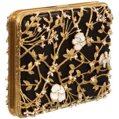 Alexander McQueen Floral & Pearl Evening Book Clutch (11 990 PLN) found on Polyvore